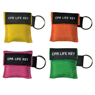 4pcs/pack CPR Masks First Aid Training One Way Valve Keychain Face Shields Mask
