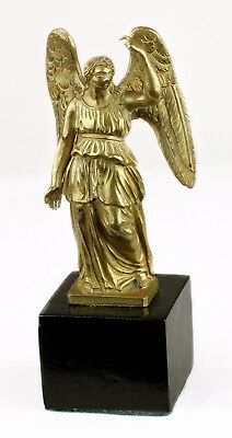 Fine 1880s Antique French Doré Golden Bronze Statuette of Standing Angel