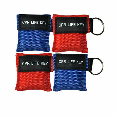 4pcs/pack CPR Masks One Way Valve Keychain Resuscitation Training Mask Blue Red