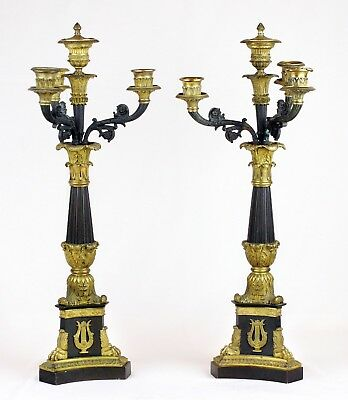 Antique 1830s Pair of French Empire Ormolu Bronze & Gilt Four-Light Candelabras