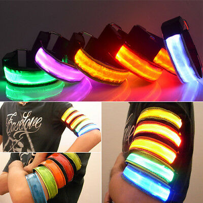 LED Light Safety Reflective Belt Strap Snap Arm Band Sports Running Armband Inno