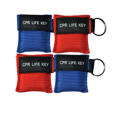 12pcs/pack CPR Masks One Way Valve Keychain Resuscitation Training Mask Blue Red
