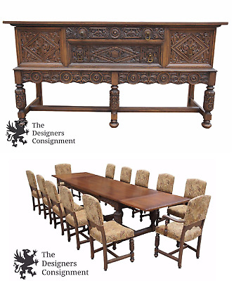 Antique Elizabethan Spanish Revival Carved Oak Dining Set Table Buffet 12 Chairs