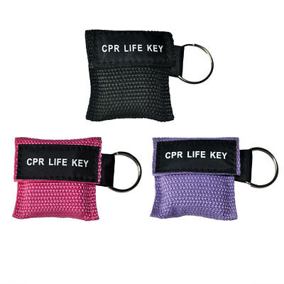 3pcs/pack CPR Masks One Way Valve Keychain Resuscitation Training Mask 3 Colors