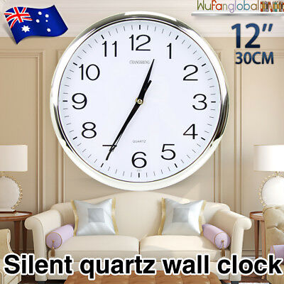 "12"" 30CM Silent Round Wall Mountable Quartz Analogue Clock Large Face Silver AU"