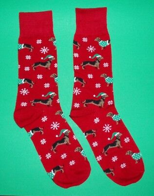 Men's Red Dachshund Dog Christmas Holiday Socks