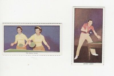 Table Tennis Cards - The Rowe Twins and Johnny Leach