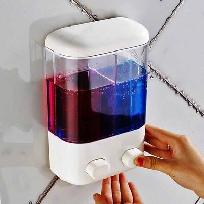 Home White Transparent Wall Mount With Sucker Shampoo Sanitizer Soap Dispenser
