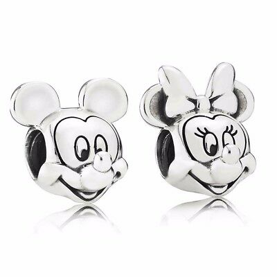 Mickey & Minnie Mouse Twin Pack Disney Charms Stamped with 'Pandora S925 ale'