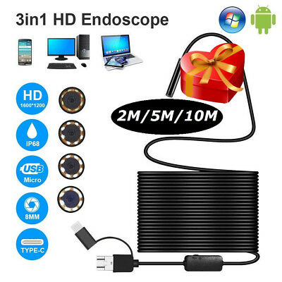 3 in 1 Rigid Endoscope USB Type C / Micro USB Inspection Camera 1200P 8LED IP68