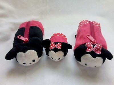 Disney Tsum Tsums Mickey and Minnie mouse pencil case and minnie plush
