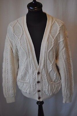 """Vintage St Michael cream hand knit wool cardigan size large 42"""" made in UK"""