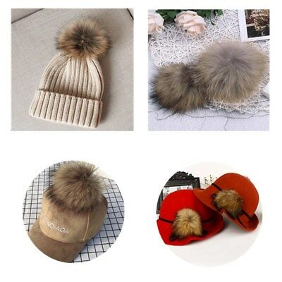 Large Natural Raccoon Fur Pom Pom Balls with Press Button for Knitting Hat DIY