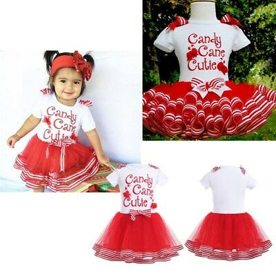Baby Girl Kids Christmas Candy Cane Cutie Xmas Tulle Party Tutu Dress