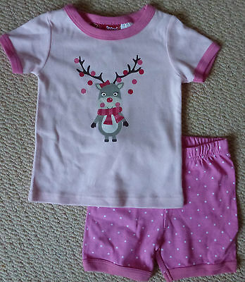 NWT Sprout Girls Pink Glitter Reindeer Christmas Pyjamas Shorts Top Size 0