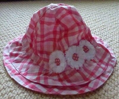 NWT Target Girls Pink Check Flowers Embroidered Sun Hat Size 0 or Size 1