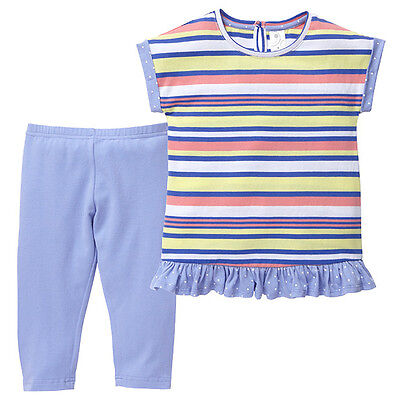 NWT Target Girls Lilac Striped Dress + Leggings Summer Outfit Set Size 1 2 3 6