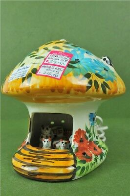 Childs Bedside Lamp Vintage Cat Family Woodland Home Blue and Yellow
