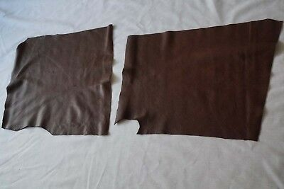 x2 Dark Brown upholstery cowhide pieces/off-cuts Grainy Soft Cow leather remnant