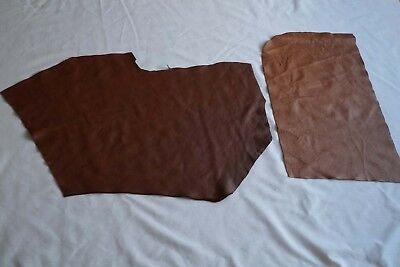 Assorted Dark Brown cowhide leather 2 craft panels/pieces 50 x 35 cm