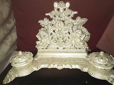 Antique Cast Iron Inkstand With Angel and Griffin Decoration Poss 19th Century