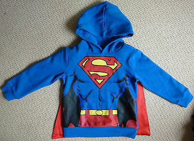NWT Superman Licensed Boys Costume Hoodie Jumper with Hood and Cape Size 5