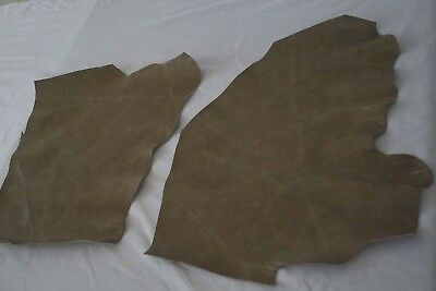 Two tone Mushroom cowhide leather 2 craft panels/pieces 45 x 30 cm