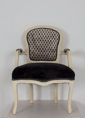 French Louis Cream Diamond Armchair White Black Shabby Chic Antique Bedroom Hall