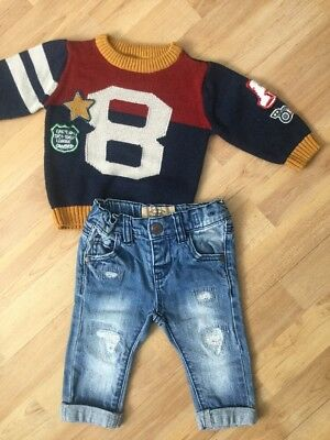 Next,  Baby Boys Winter Outfit 3-6 Months Jumper, Distressed Jeans,
