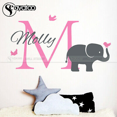 Elephant Custom Name Initial Cartoon Vinyl Wall Sticker Decal Kids Baby Bedroom