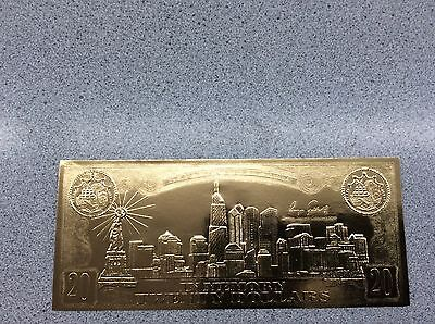 USA $20 September 11th 22KT Fine Gold Leaf Coin Certificate National Mint