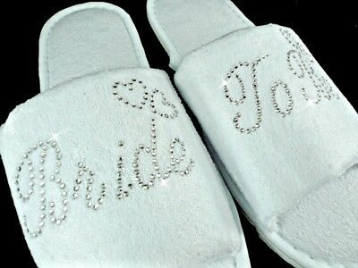 Personalised Slippers Diamantes Wedding Spa Guest Shoes Towelling Gold Fancy