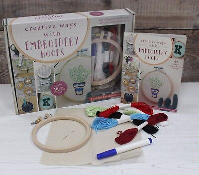 Embroidery Beginners Kit with Plastic Hoop, Pen, Sewing Thread & Instructions