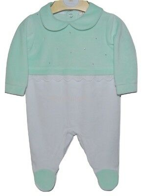 Baby Girls Spanish Style Mint Velour Diamante All in One Romper Mintini Baby