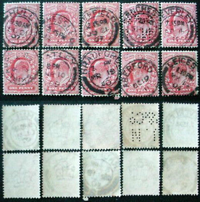 GREAT BRITAIN: EDWARD VII: 10 x 1d RED USED STAMPS WITH POSTMARKS LOT 1