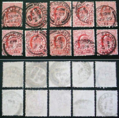 GREAT BRITAIN: EDWARD VII: 10 x 1d RED USED STAMPS WITH POSTMARKS LOT 2