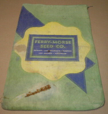 Vintage Advertising Ferry Morse Green & Blue & Yellow Cloth Seed Bag Sack
