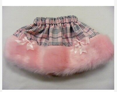 Baby Girls New With Tags Kinder Pink Tartan Skirt Faux Fur Trim 12/18 Months