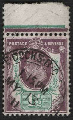 SG224var 1902 1 1/2d. Deep purple and bluish-green (C). D.L.R. 321915
