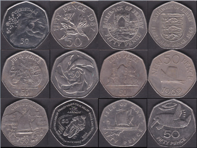 Regional Issue 50p Jersey Guernsey Gibraltar IOM Isle of Man Circulated Coins