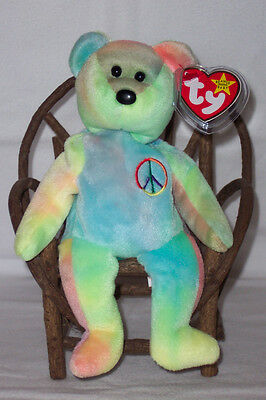 5th Gen Gasport PEACE Ty Beanie Baby Bear! Solid Blue & Green! 102 Ty Inc. MWMTS