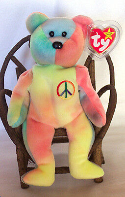 5th Gen Gasport PEACE Ty Beanie Baby Bear! Lots of Yellow! No # Ty Inc. MWMT'S