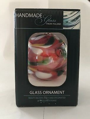 """Handcrafted Polish Christmas Glass Ball Ornament- brand new in box- 3"""" tall"""