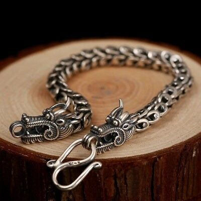 Solid 925 Sterling Silver Carved Double Dragon Heavy 7mm Link Chain Bracelet New