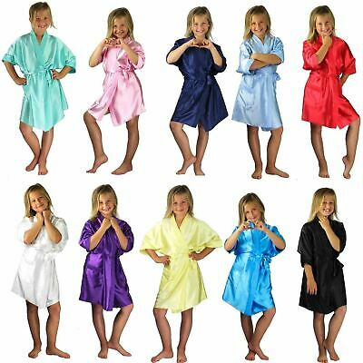 Children Kids Satin Robes Dressing Gown Bridesmaid Flower girl 11 Colours 2-11