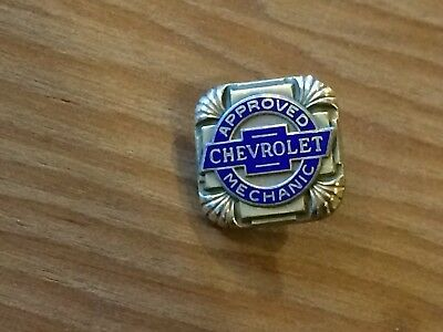 Vintage screwback pin CHEVROLET Approved Mechanic, 1/20 10 kt. gold