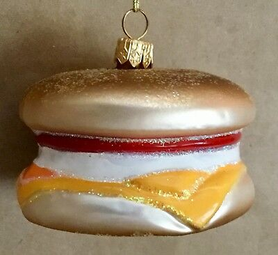 NEW SUR la Table EGG SANDWICH Muffin Glass Blown Hand Painted Ornament  Poland