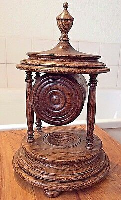 "Antique style turned figured oak clock case Palladian style ~ 12"" tall"