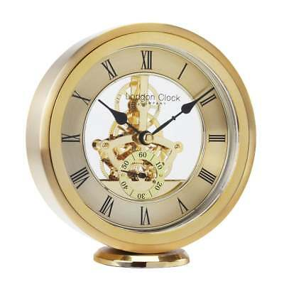 NEW LONDON CLOCK COMPANY Round Skeleton Gold Mantel Clock RRP £85