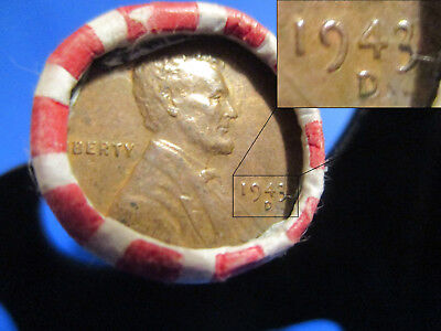 WHEAT CENT PENNY ROLL WITH 1943 p or d COPPER CENT-PLATED & WHEAT BACK END COINS